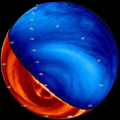 Image composite de Vénus obtenue dans l'ultraviolet et l'infrarouge grâce aux instruments VMC et Virtis. Credits: ESA/VIRTIS and VMC teams