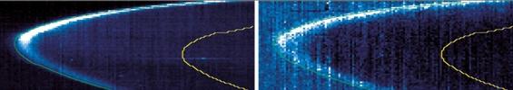 Image composite montrant les émissions au limbe de Vénus de dioxygène (O2) (à gauche) et OH (au centre).