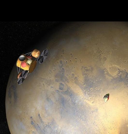 Vue d'artiste de l'orbiteur, à droite l'atterrisseur se rapprochant de Mars. Crédit : NASA/JPL.