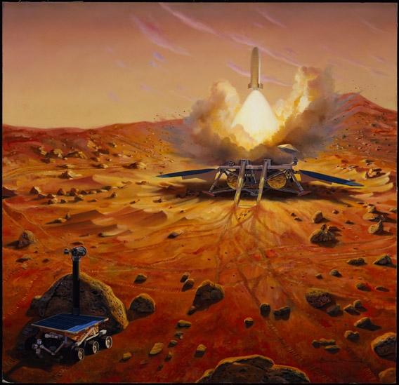 Une fois collectés les échantillons devront quitter Mars. Crédit : Ill./NASA.