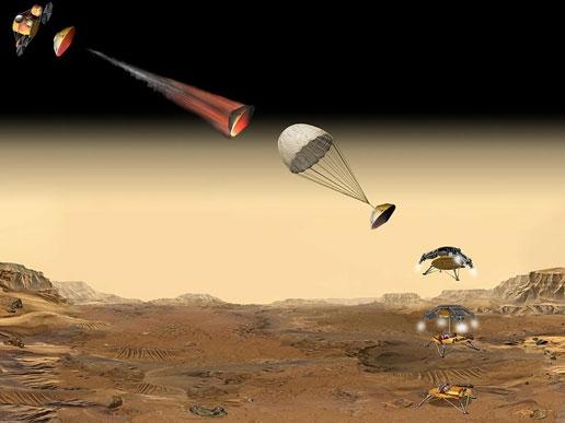 Séquence d'atterrissage de la capsule. Crédit : NASA/JPL.