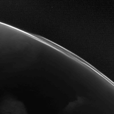 Atmospheric structures can be seen in this image of Mars taken by the OSIRIS narrow-angle camera during Mars flyby on 24 February 2007. ESA © 2007 MPS for OSIRIS Team MPS/UPD/LAM/ IAA/ RSSD/ INTA/ UPM/ DASP/ IDA