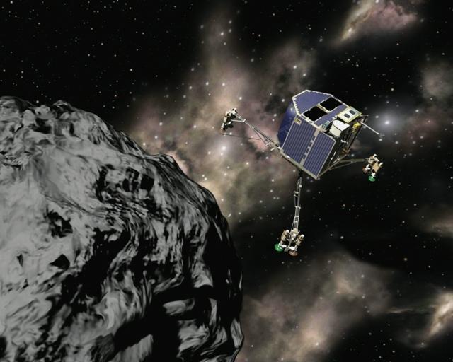 L'atterrisseur en approche de la comète Churyumov Gerasimenko. Crédit : CNES/Ill. Laurence Mossay.