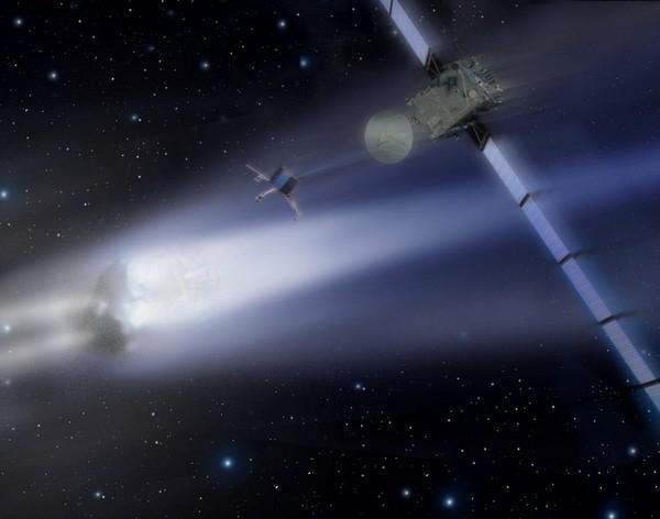 Largage de l'atterrisseur de Rosetta en 2014. Crédit : CNES.
