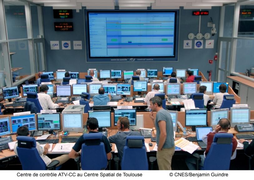 Le centre de contrôle ATV-CC, à Toulouse, a veillé au bon déroulement des opérations de désamarrage. Crédits : CNES/B. Guindre, 2008.