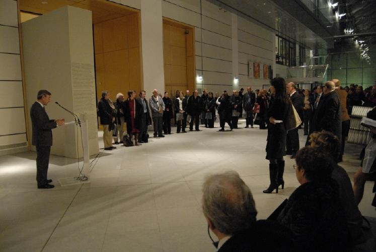 Discours de Yannick d'Escatha, président du CNES au Musée d'art moderne et contemporain de Strasbourg. Crédits : CNES/C. Urbain.