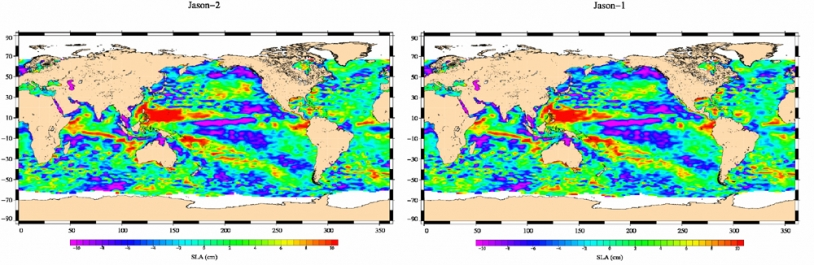 Jason-2 Sea Level Anomaly map (left) plotted from 2008-07-04 to 2008-07-14 data; right the same map plotted from Jason-1 equivalent data. Credits: CNES.