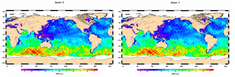 Jason-2 Significant Wave Height map (left) plotted from 2008-07-04 to 2008-07-14 data; right the same map plotted from Jason-1 equivalent data. Credits: CNES.