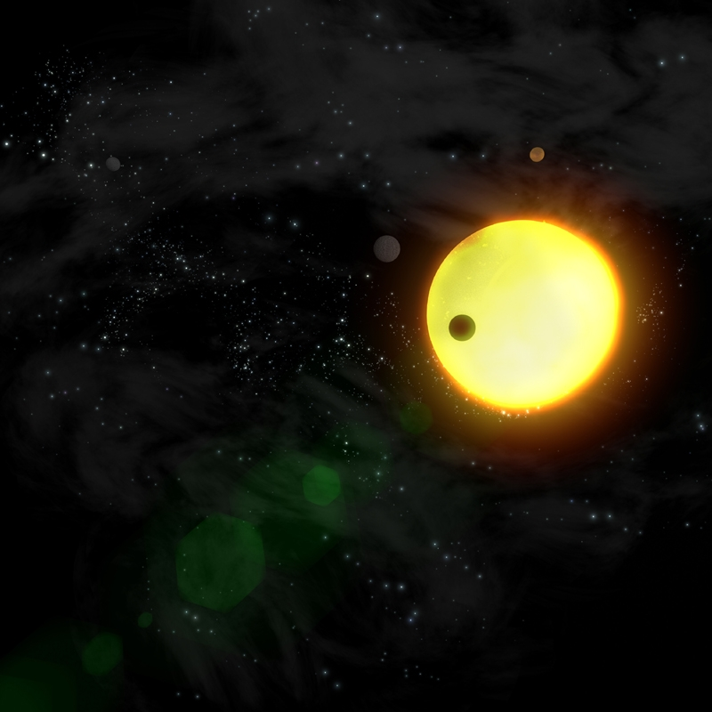 Exoplanets transiting in front of their parent star. Credits: ESA/Ill. AOES Medialab.