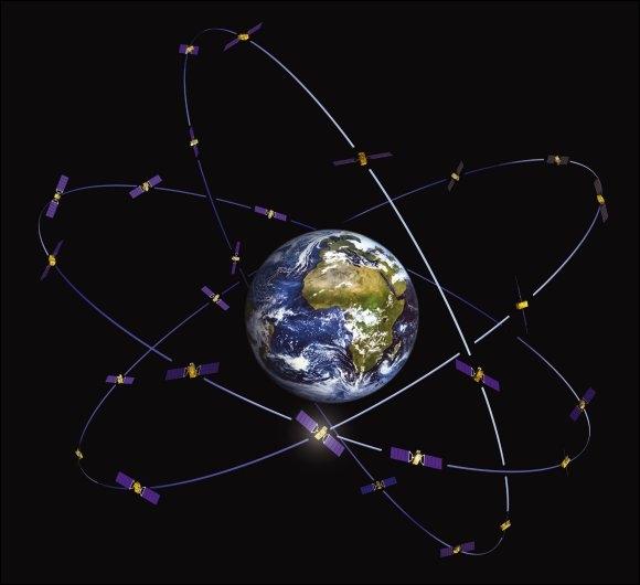 Constellation de 30 satellites du système Galileo. Crédits : ESA.