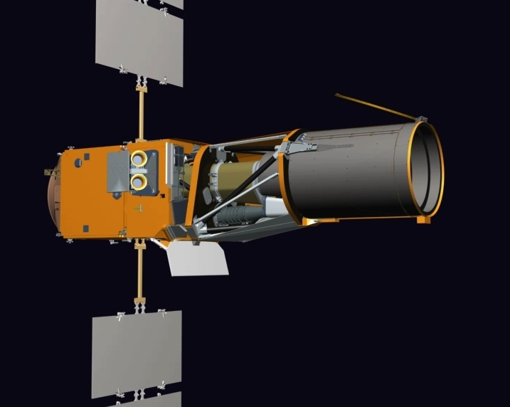 L'instrument CoRoT est composé d'un télescope, d'une caméra, d'une case à équipement et d'un logiciel de vol. Crédits : Thales Alenia Space/JL. Bazile 2006.