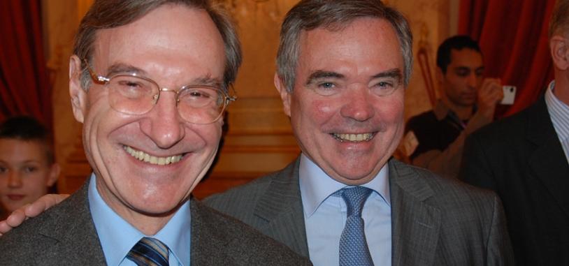 Yannick d'Escatha, président du CNES et Bernard Accoyer, président de l'Assemblée Nationale. Crédits : CNES.