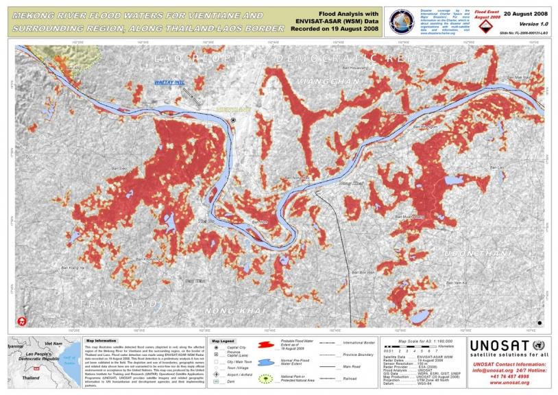 Mekong River floods, Vientiane, Laos. Source: Envisat ASAR, data acquired 19/08/08. Credits: ESA 2008.