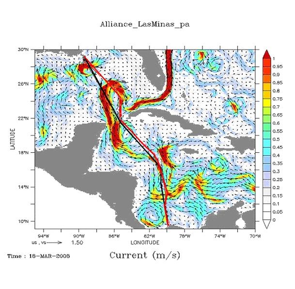 La route planifiée (en noir) allait contre le courant. La route recommandée par CLS (en rouge) profite du bon côté de la boucle de courant prédit par le système Mercator. Crédits : CLS/Mercator Océan.
