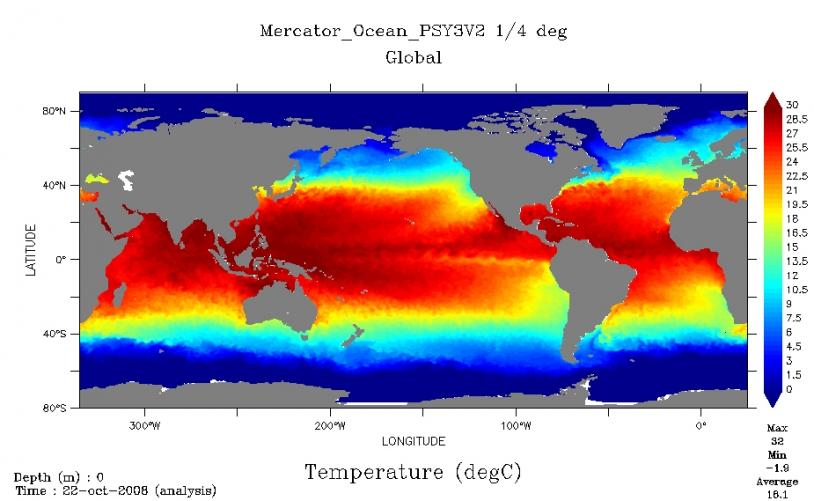 Mercator ocean temperature bulletin for 22 October to 4 November 2008. Credits: Mercator Ocean.