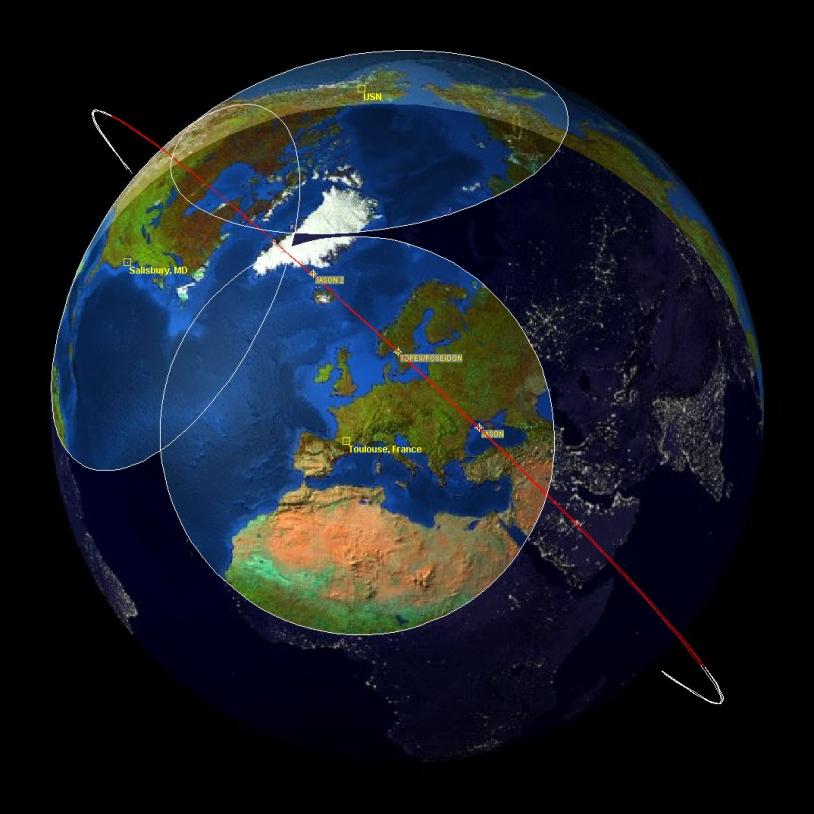 A la date du 28 janvier 2009, Jason-1 commence à dériver légèrement par rapport à Jason-2 (cliquer sur l'image pour l'agrandir). Crédits : JPL.