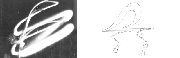 Nuage de sodium déployé pendant la campagne de 1959, à droite le schéma du nuage montre que la haute atmosphère est contituée de différentes couches avec la trajectoire de la fusée en pointillés. Crédits : CNES.