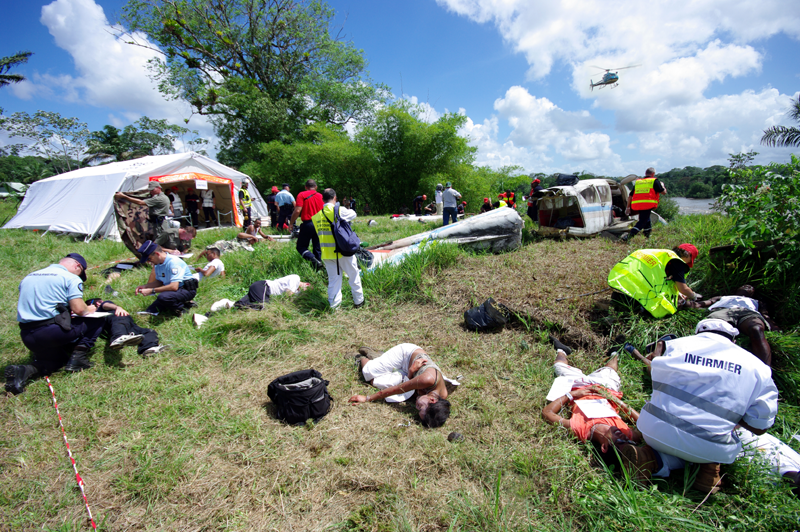 A highly realistic reconstruction of a crash scene at Saint-Georges de l'Oyapock, French Guiana. Credits: CNES/P. Collot.