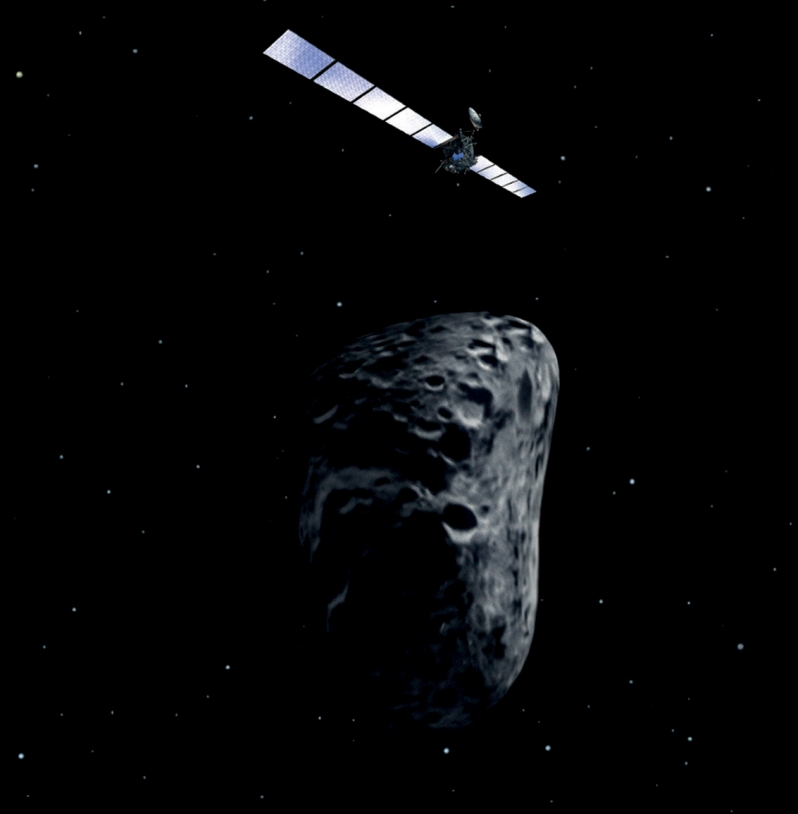 The Rosetta probe will fly past the asteroid to within 800 km at closest approach. Credits: ESA/AOES Medialab.