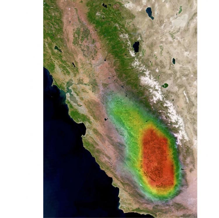 Concentrations d'amoniac mesurées par l'instrument IASI au-dessus de la Californie en 2008. Crédits : ULB/CNES/INSU-CNRS.