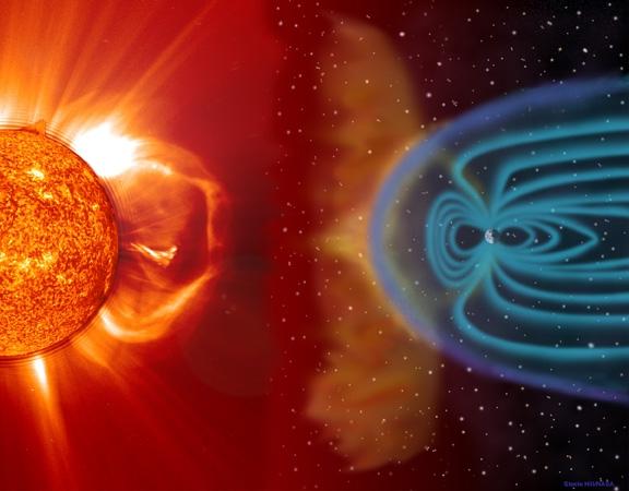 Certains flux de particules solaires projetées en direction de la Terre sont susceptibles de perturber les communications radios. Crédits : INSU/CNRS.