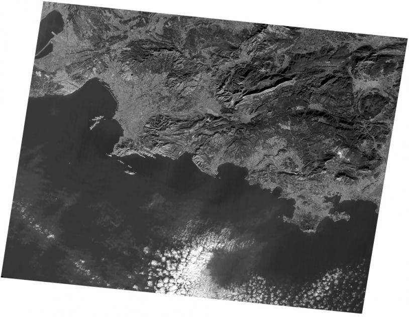 Marseille. Première image Spot 2 en panchromatique, janvier 1990. ©CNES/Spot Image