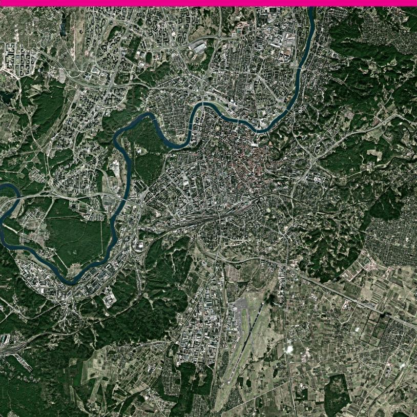 Avec Spot-5, lancé en 2002, la résolution des images a atteint 2,5 m. Ici la ville de Vilnius en Lituanie. Crédits : Spot Images.