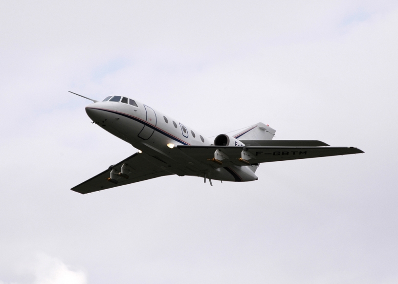 Falcon 20de SAFIRE en plein vol. Crédits : SAFIRE.