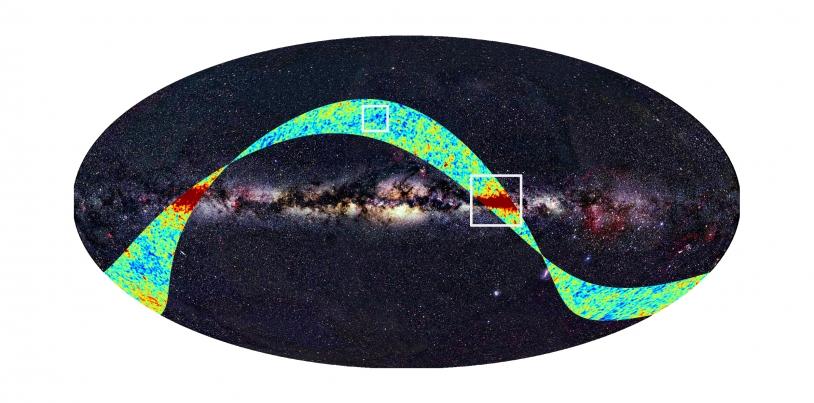 Portion du ciel observée par le satellite Planck pendant 2 semaines en août. Crédits : ESA, LFI & HFI Consortia (Planck), Axel Mellinger.