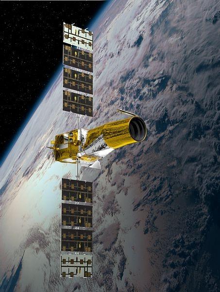 Le télescope spatial CoRoT observe les étoiles depuis 2006. Crédit : CNES/Ill. D. Ducros.