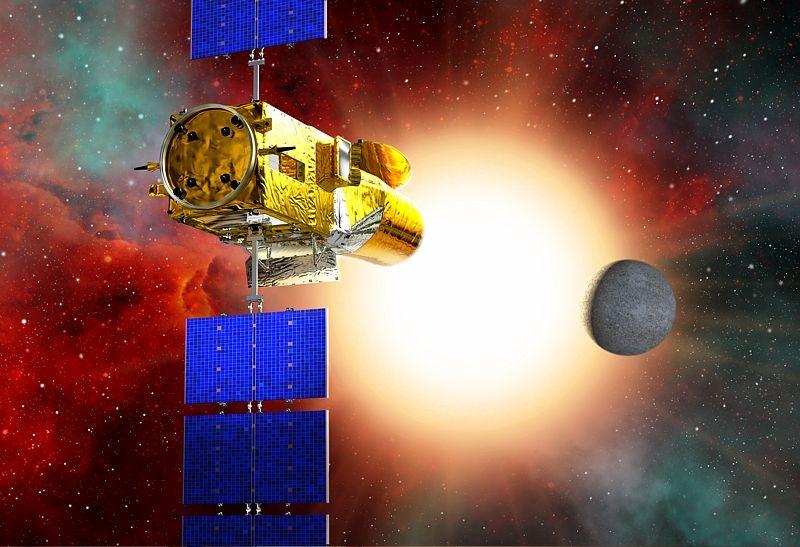 Le satellite CoRoT détecte une exoplanète lorsqu'elle passent devant son étoile. Crédits : CNES.