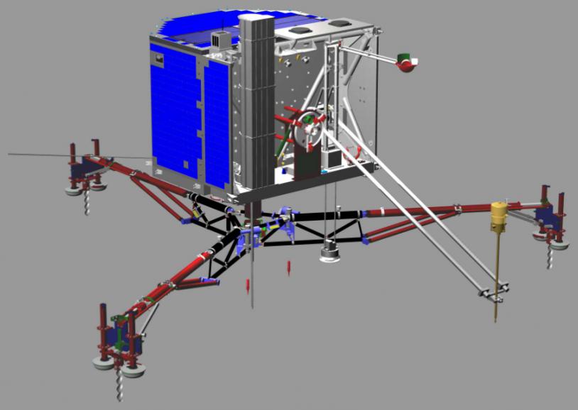 Les 10 instruments de l'atterrisseur, Philae, doivent être opérationnels avant la phase d'hibernation de la sonde en 2011. Crédits : CNES.