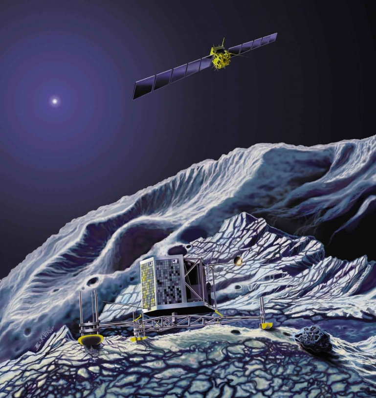 L'atterrisseur Philae de la sonde Rosetta devrait se poser sur la comète Churyumov-Gerasimenko en 2014. Crédits : Ill. ESA.