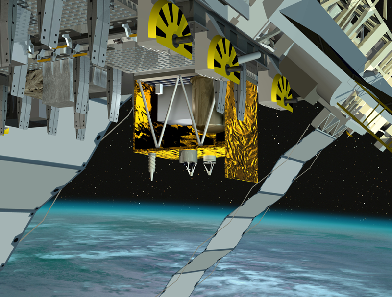 L'ensemble ACES sera placé à l'extérieur de l'ISS en 2013. Crédits : ESA/Ill. D. Ducros.