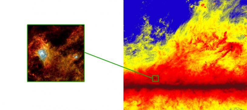 On observe les structures filamentaires aussi bien aux petites échelles (image du satellite Herschel à gauche) qu'aux grandes échelles (image Planck à droite). Crédits : ESA, Consortium HFI, consortium SPIRE & PACS, P. André.
