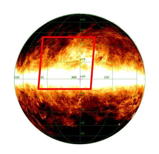 Région du ciel couverte par les images Planck. Le satellite est capable de balayer une large région pour en donner un aperçu panoramique. Crédits : ESA et le consortium HFI, A. Mellinger.