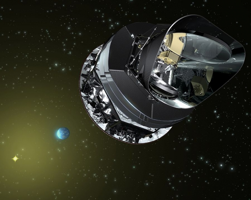 le satellite planck a été mis en orbite par Ariane 5 le 14 mai 2009. Crédits : ESA/AOES Medialab.