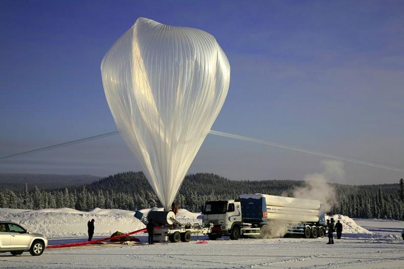 Zero-pressure stratospheric balloon in Kiruna. Credits: CNES/A. DERAMECOURT.