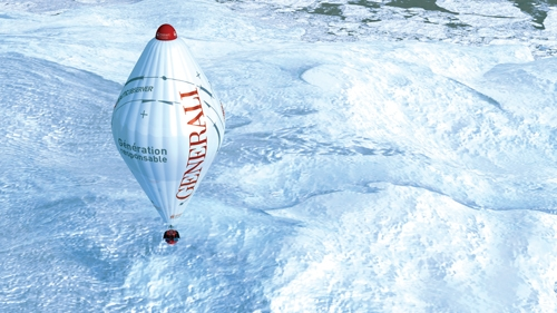 Ballon avec lequel Jean-Louis Etienne a traversé le pôle Nord. Crédits : Francis Latreille.