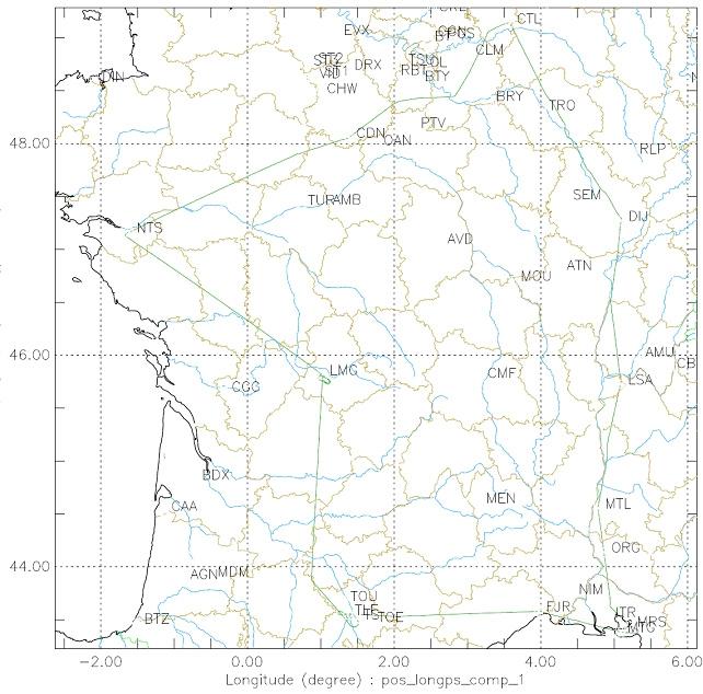 Le plan de vol du premier ATR 42 - L'avion a effectué le parcours Toulouse - Montpellier - Montélimar - Lyon - Paris – Nantes - Limoges - Toulouse