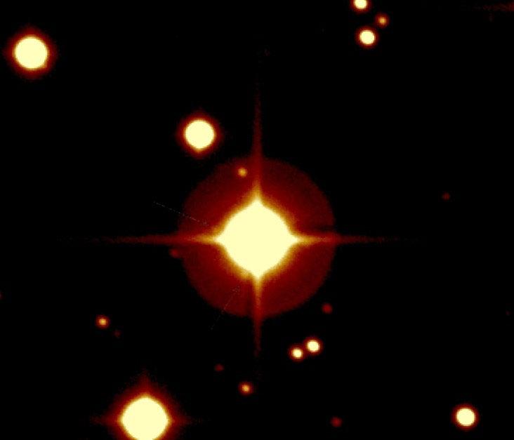 Image prise par le télescope du CFH (Canada-France-Hawaii) de l'étoile autour de laquelle orbite CoRoT-Exo-7b. Crédits : LESIA/OBSPM.