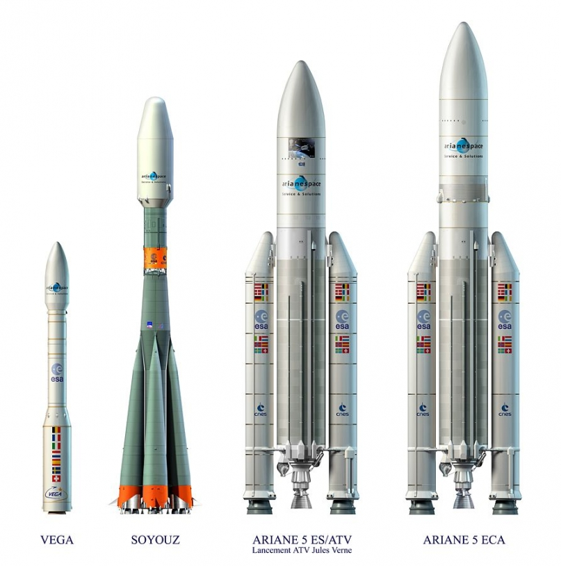 Europe's launcher family: Vega, Soyuz and the 2 versions of Ariane 5. Credits: ESA/CNES/Arianespace.