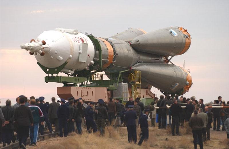 A Soyuz rocket at the Baikonur cosmodrome in Kazakhstan. Credits: Roscosmos.