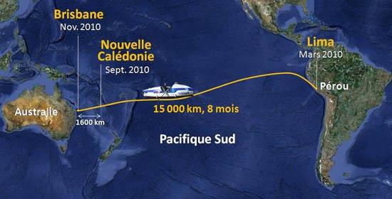 Serge Jandaud devra parcourir 15 000 km entre le Pérou et l'Australie. Crédits : Serge Jandaud.