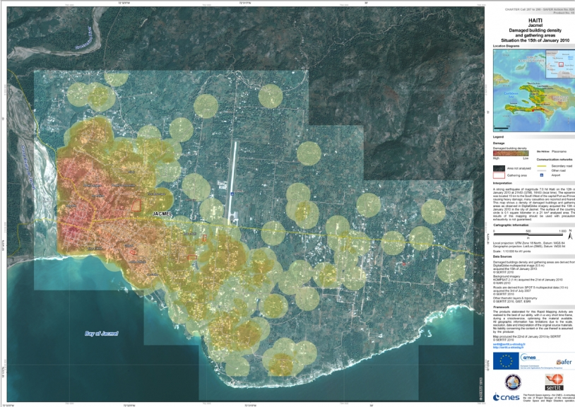 Damage-assessment map supplied by the charter after the Haiti earthquake in January. Credits: KOMPSAT-2 image supplied free to the charter by KARI.