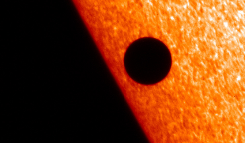A planetary transit occurred inside our own solar system in 2006 when Mercury passed in front of the Sun. Credits: ESA/Solar Optical Telescope (SOT).