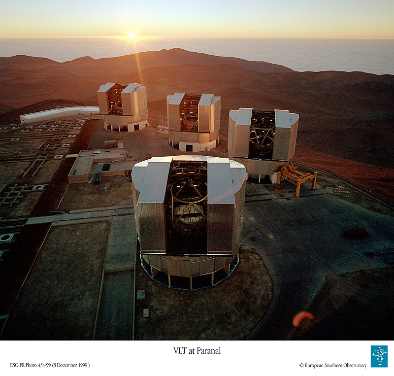 The Very Large Telescope at ESO, Chile, comprises 4 units each with a mirror spanning 8.2 m. Credits: ESO.