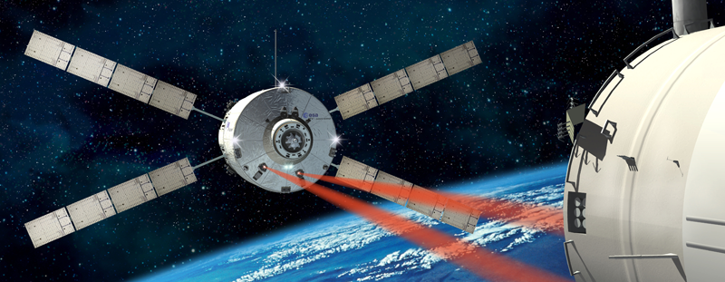 Like the ATV 1 in 2008, the ATV 2 will dock to the ISS using laser guidance. Credits: ESA/D. Ducros.