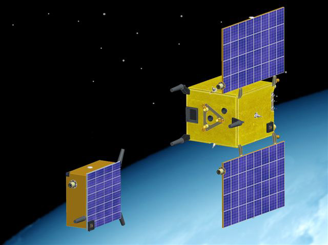 Tango and Mango, the 2 small satellites making up the PRISMA mission. Credits: ill. CNES.