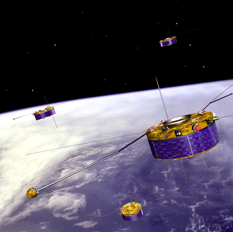 The Cluster satellites in orbit since August 2000. Credits: Ill. ESA.